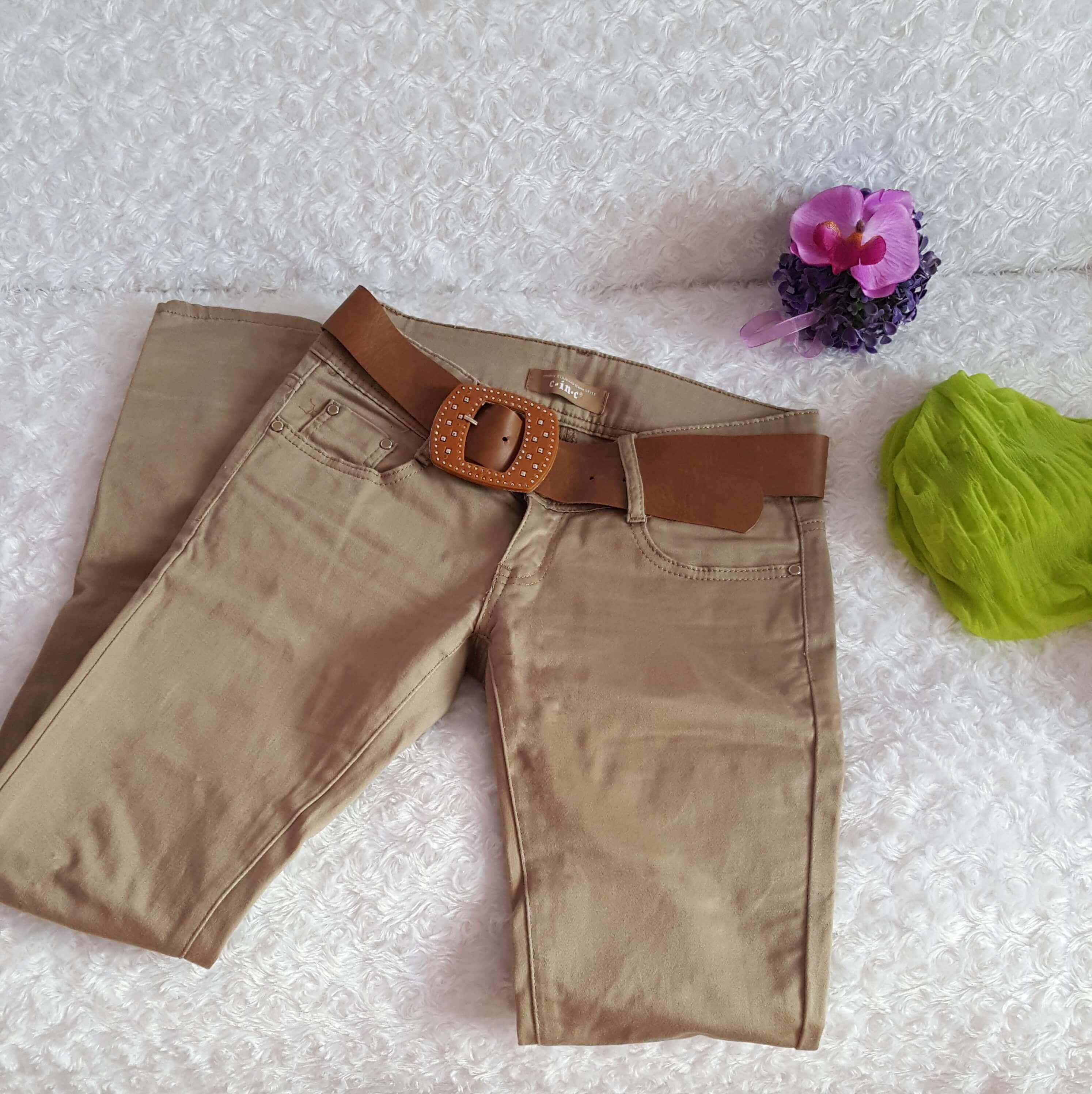 f397c09e58e8 Dámske béžové nohavice s opaskom veľ. 28 (S-M)
