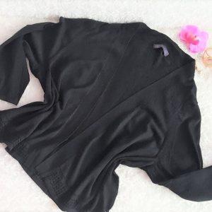 59e88d94f5e8 Čierny sveter s čipkovaným vzorom veľ. S-M